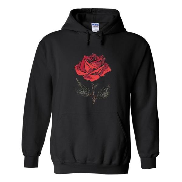 Red Rose Flower Hoodie