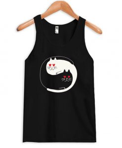 Yin Yang Love Eyes Cat Tanktop
