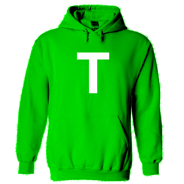 letter t green hoodie