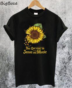 Sunflower This Girl Runs On Jesus and Music T-Shirt
