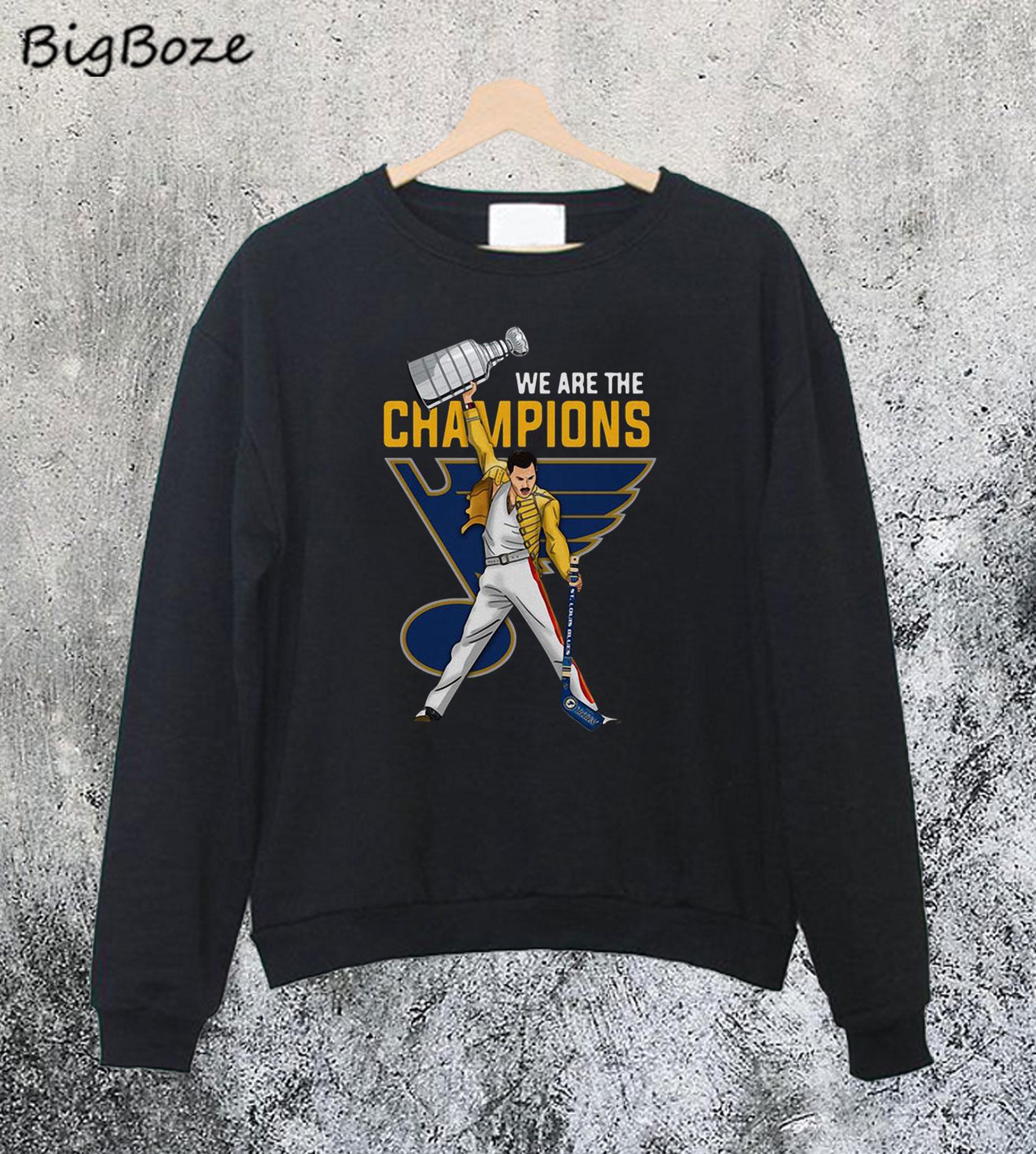 premier taux b826b 399fc Freddie Mercury St Louis Blues We Are The Champions Sweatshirt